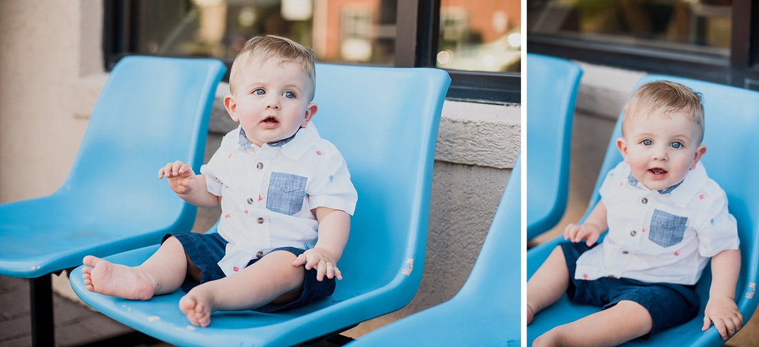 Roanoke family photography session at Blue Cow Ice Cream near the Greenway.