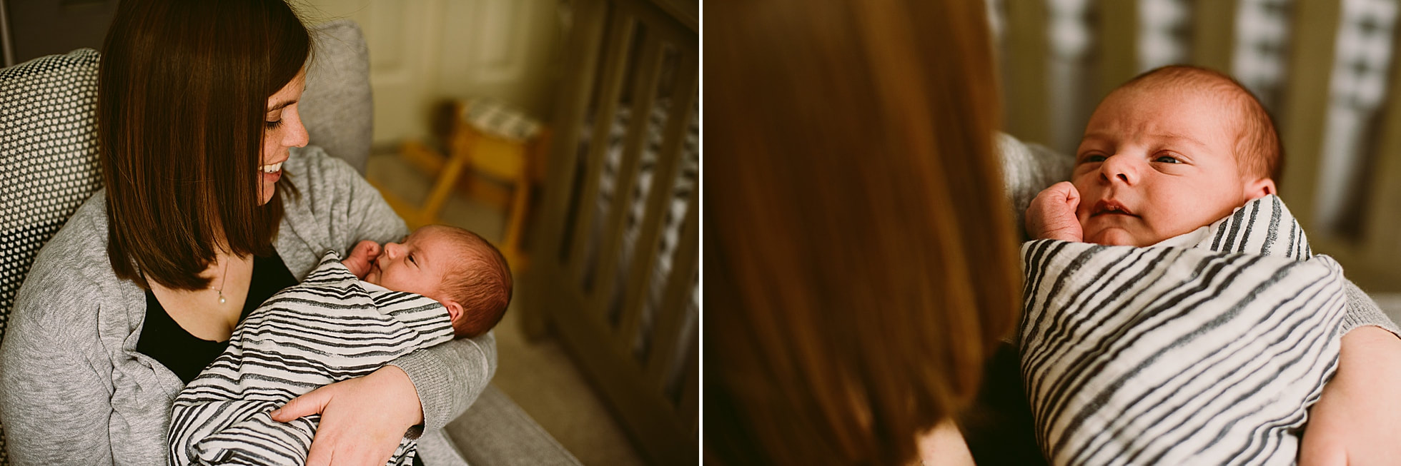 Mother and newborn moments during an at-home photography session by Laura Richards