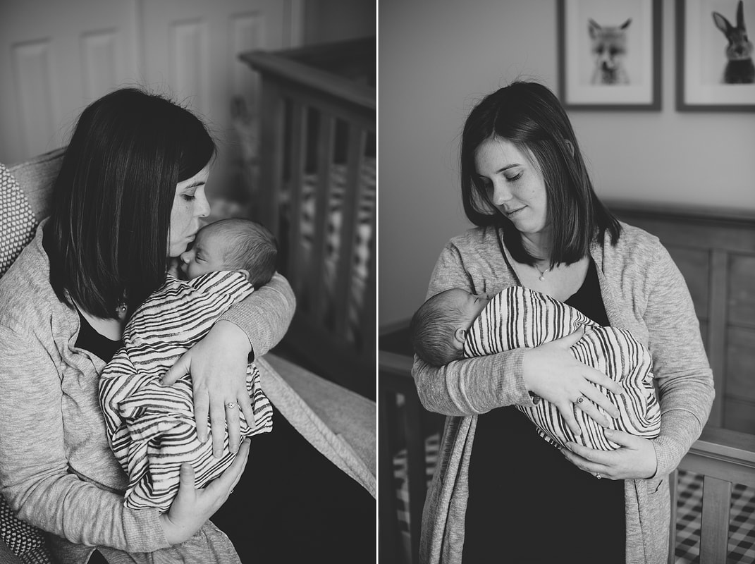 Black and white motherhood photography by Laura Richards
