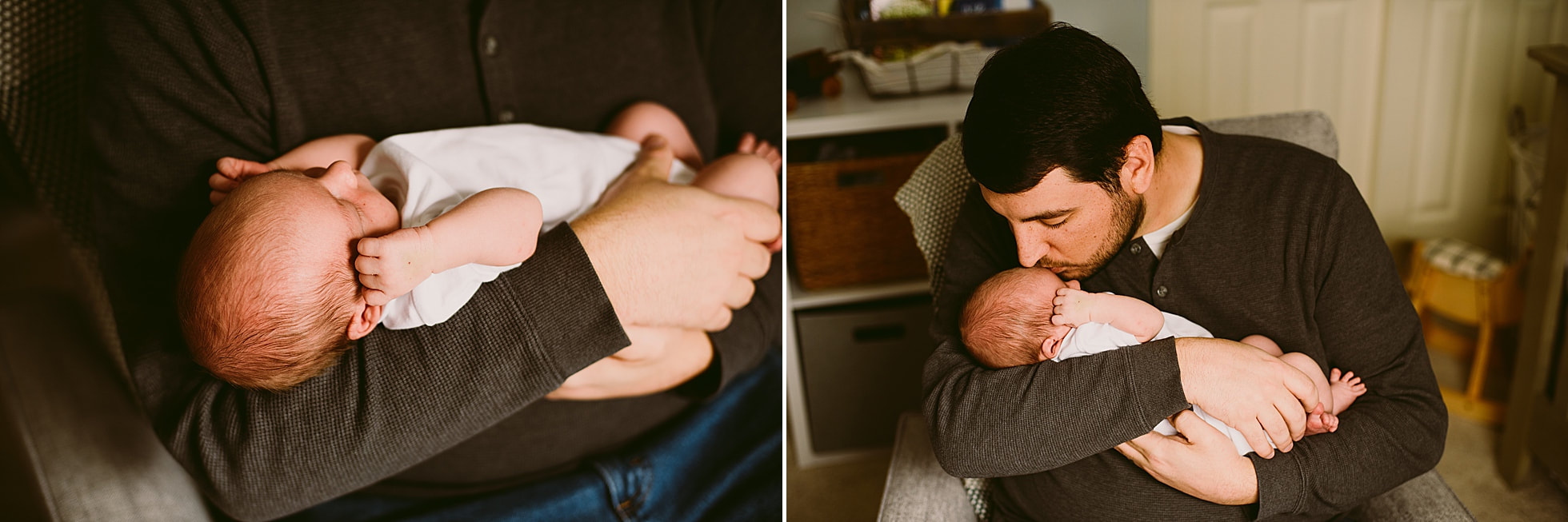Dad and newborn son images during a lifestyle newborn photography session