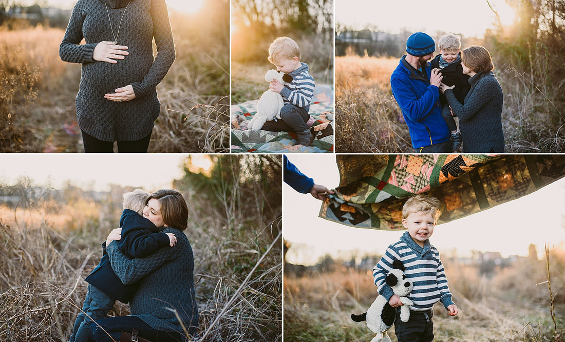 A collage of family images captured by Laura Richards Photography in Roanoke, Virginia